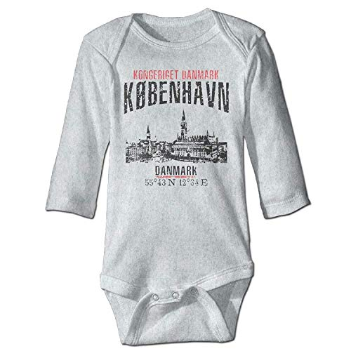 Unisex Infant Bodysuits Copenhagen Boys Babysuit Long Sleeve Jumpsuit Sunsuit Outfit Ash