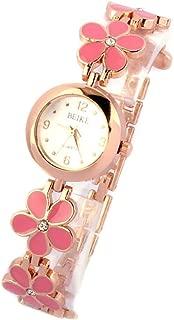 Yoyorule Fashion Daisies Flower Rose Gold Bracelet Wrist Watch Women Girl