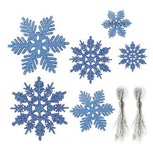 Anyingkai 36pcs Fiocchi Neve Natale,Glitter Fiocco di Neve,Fiocchi di Neve Decorativi,Fiocchi di Neve per Natale,Fiocchi di Neve Decorativi di Natale (Blu-B)