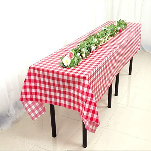 Yllang Kunststoff-Party Tischdecke Einwegtischdecke rechteckig im Freien Picknick-Grill Hochzeiten (Color : Rot, Specification : 180x180cm)