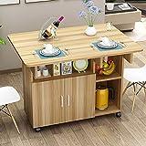 La isla de la cocina con gabinetes de almacenamiento y platos laterales para cocinar, carrito de cocina plegable multifuncional, carro de almacenamiento tiene un gran diseño de almacenamiento.