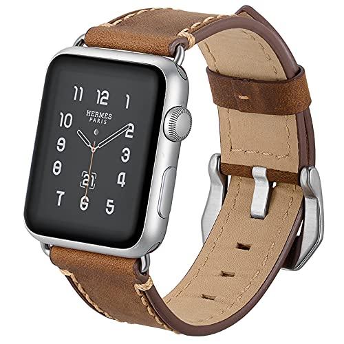 AdirMi Funda para Apple Watch 123456/SE, correa de reloj de piel auténtica clásica con hebilla de plata inoxidable, correas compatibles para Apple Watch de 38 mm/42 mm, marrón, 38 mm