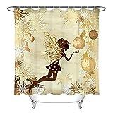 Fee Schmetterling Mädchen Weihnachtskugel Schneeflocke Duschvorhang für Badezimmer,wasserdichtes & schnelltrocknendes Polyester,hochauflösendes Muster,12Haken,180X180cm,Heimtextilien