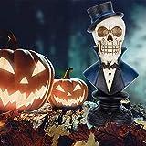 Ichibann Halloween Decortaion Skeleton Bust Classy Hatted Skullman 10in Halloween Theme Suited Skeleton Man Decor Desk Figurine Detailed Hollow Eye Skullman Craft