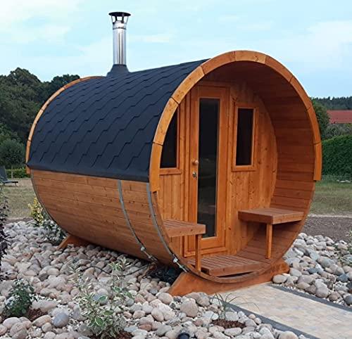 Fasssauna Helga Terrasse 1-Raum aus Fichtenholz als Bausatz inkl Montagematerial Via Nordica