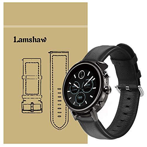 LvBu Armband Kompatibel mit Movado 2.0, Quick Release Leder Classic Ersatz Uhrenarmband für Movado Connect 2.0 Smartwatch 40mm / 42mm (Schwarz)