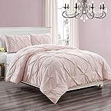WPM 3 Piece Microfiber Comforter Set Girls Bed Dorm Room Decor Pinch Pleat Pintuck Down Alternative Queen Size Bedding - All Season Rose Blush Pink Bedroom Decor- JN1 (Queen 3 Piece)
