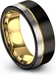 Midnight Rose Collection Tungsten Wedding Band Ring 9mm...