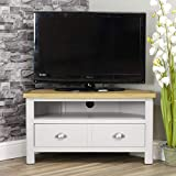 Dorset Grey Oak Corner TV Unit | TV Stand Storage TV Cabinet | Stone Grey