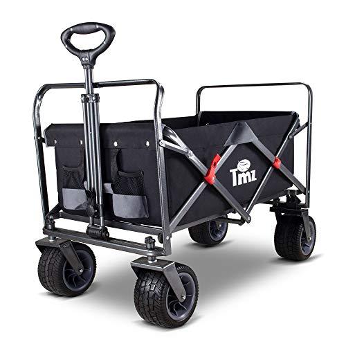 TMZ All-Terrain Auto-Reifen Faltbar Bollerwagen, Patentierter Breiter 360 ° Drehräder Handwagen Klappbar Transportwagen, Patentierte Falttechnik Gartenwagen, 90 L, bis 120kg(Schwarz/Grau)