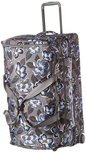 Vera Bradley Recycled Lighten Up Reactive XL Foldable Rolling Duffle Luggage, Blooms Shower