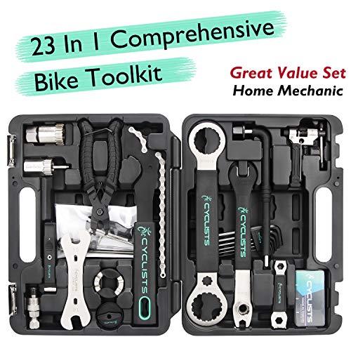 23 Piece Bike Tool Kit - Bicycle Repair Tool Box Compatible - Mountain/Road Bike Maintenance Tool Set with Storage Case (Black)