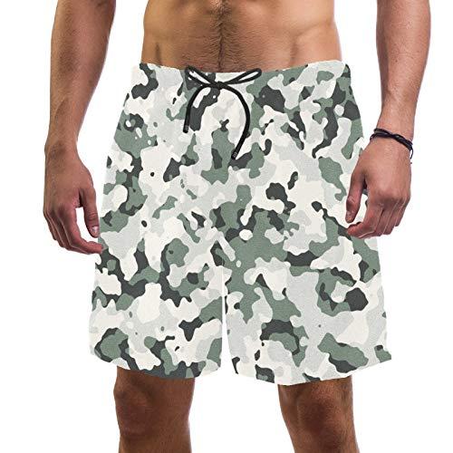 Pantalones cortos de playa de surf para hombre, de secado rápido, con fondo de camuflaje de bolsillo