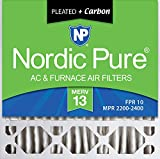 carbon activated air filter 20x20 - Nordic Pure 20x20x5 (4-3/8 Actual Depth) Plus Honeywell FC100A1011 Replacement Pleated AC Furnace Air Filter, 2 PACK, MERV 13 + Carbon, 2 PACK