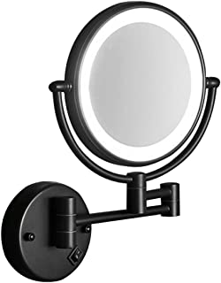 Wall Mounted Bathroom Makeup Mirror with LED Lights - Double Sided Rotating 3X Magnifying Shaving Vanity Mirror,Oil-Rubbed...