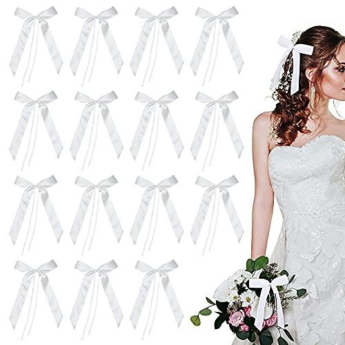 Satinband Hochzeit Schleifen Autoschmuck Hochzeit mit 100 wunderschönen Satin Antennenschleifen weiß-Autoschleifen Hochzeit als Auto Schmuck Hochzeitsdeko-Antennenschleifen Hochzeit für Brautauto Deko