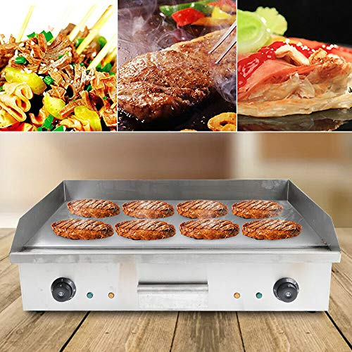 ZHFEISY Electric Countertop Griddle - 4400W Commercial One-Piece Tabletop Flat Top Electric Grill w/Drip Tray&Temperature Control for Indoor/Outdoor BBQ Teppanyaki Cooking 28.5'X15.7'X9'【CB/CE/GS Certification】