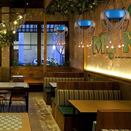 Retro cafe kleding banden hennep lantaarn Hotel Internet Caf eacute; creatieve gepersonaliseerde hennep lichtslang, blauw, 60cm