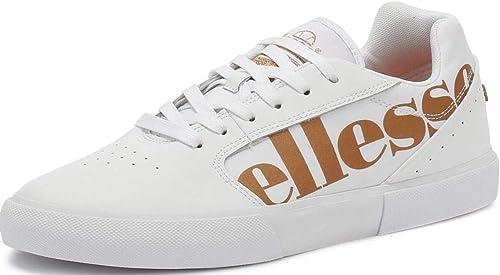 Ellesse Ostuni Blanc Or Cuir Femmes Formateurs Chaussures