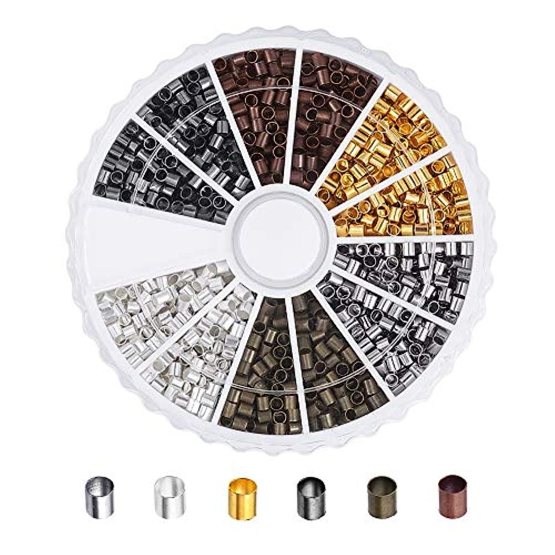 Pandahall 1Box/1260pcs Brass 6 Colors Tube Crimp Beads Tube Covers Beads Tips Mini Column Spacer 2x2mm Antique Bronze & Red Copper & Black & Silver & Golden & Platinum