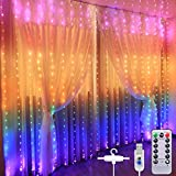 Curtain Fairy Light Waterproof Curtain Lights USB Fairy String Lights 3Mx2.8M, LED Christmas Window Lights, Remote Control, 280LED RGB String Light for Bedroom Outdoor Indoor Garden