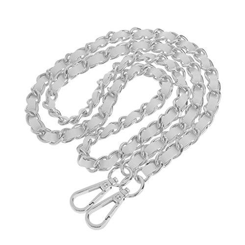 Fenteer Ersatz Schulter Riemen Kettenbügel Geldbeutelhandgriff Wechselbar Metall Taschenkette Handtasche Tasche Schulterriemen - Silber + Weiß