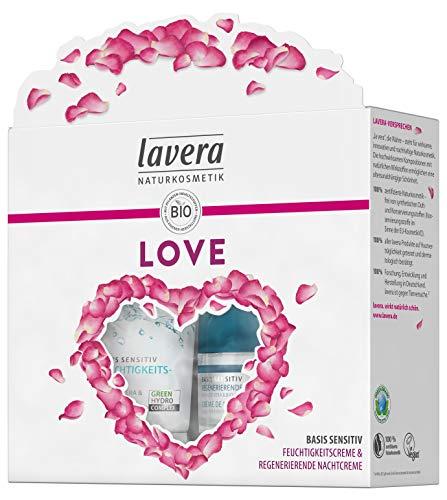 Lavera Geschenkset Love ∙ Basis Sensitiv Feuchtigkeitscreme & Basis Sensitiv Regenerierende Nachtcreme ∙ Vegan Bio Pflanzenwirkstoffe Naturkosmetik ∙ 1er Pack