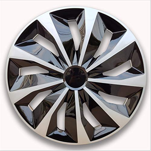 EET Tapacubos Generales Modificadas 13/14/15 Pulgadas De Radios Wheel Trims Ajuste Universal para Coches Y Van, Juego De 4, Plata-Negro,13 Inch