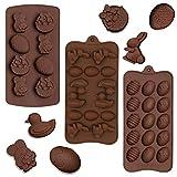 SUNSK Molde de Silicona de Huevo de Pascua para Tartas Conejo Moldes del Pastel Pato Silicón Jabón Molde Cake Mould Chocolate Mold 3 piezas