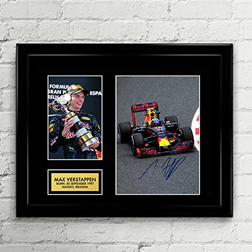 Max Verstappen Redbull Formula One Racing Signed Autographed Photo Mat Custom Framed 11 x 14 Replica Reprint Rp