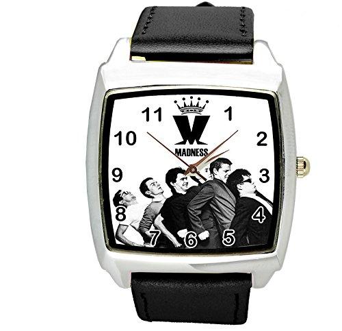 taport® locura cuarzo cuadrado Watch Negro Real Cuero Banda + libre batería de repuesto + libre bolsa de regalo