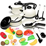 KIDPAR 24PCS Play Kitchen Set for Kids, Pretend Cooking Kit Including Pots and Pans,Cutting Play...