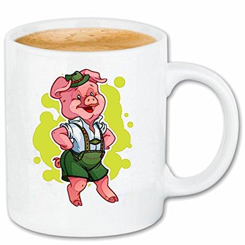 Reifen-Markt Kaffeetasse Schwein MIT Lederhose Tanzt AUF DEM Oktoberfest Wildschwein MINISCHWEIN SCHWEINERASSE Ferkel SAU Keramik 330 ml in Weiß