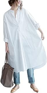 Women O-Neck Long Sleeve Button Down Hem Cut Out T-Shirts Dresses Plus Size