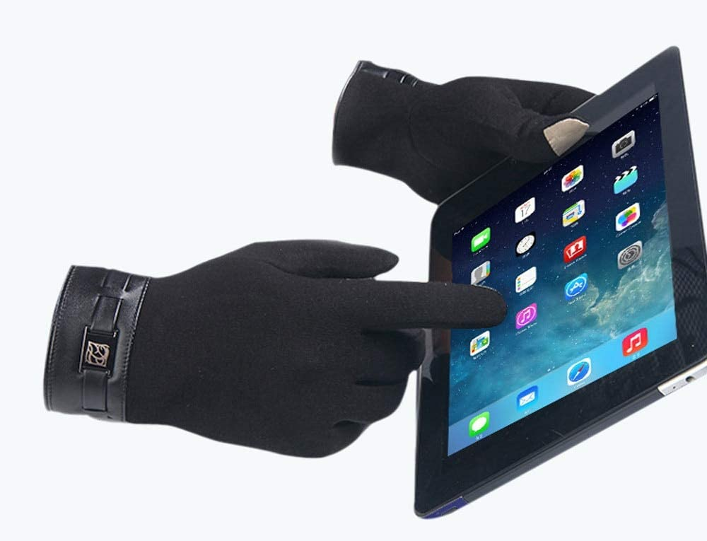 Smartphone Winter Gloves Men's Gloves Full Finger Touching Screen Cashmere Gloves Mittens Windproof Cold Weather Guantes #IL15 - (Color: Gray)