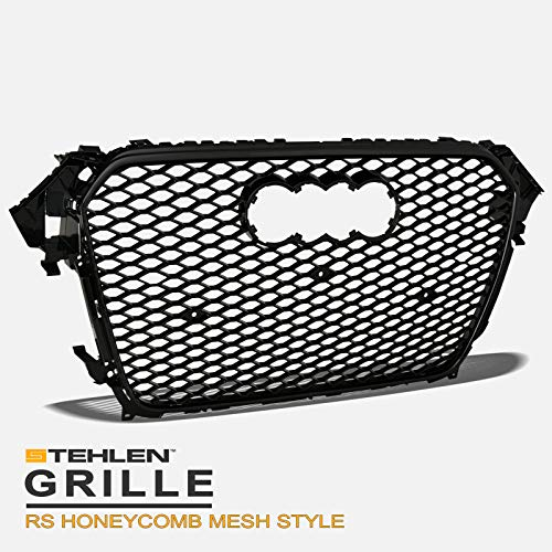 Stehlen 642167819585 RS Honeycomb Mesh Front Hood Bumper Grille - Black For 2013-2016 Audi A4 / S4 B8.5
