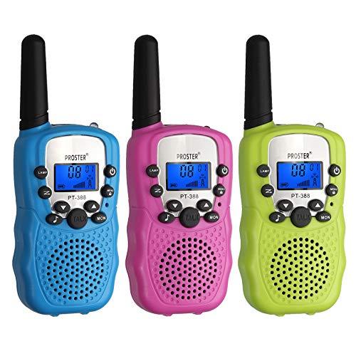 Proster 3 Pcs Walkie Talkie para Niños Walky Talky Infantil a Batería 8 Canal Función VOX Mini Radio Portátil Alcance 3 km Pantalla LCD con Retroiluminación para Cumpleaños Navidad Reyes Magos