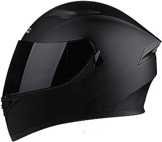 「テンカ」バイクヘルメット フルフェイス 角 システムヘルメット メンズ レディース ダブルシールド Helmet (頭囲 54cm~65cm未満) Bluetooth 防曇 大きいサイズ オートバイ/バイク/バッテリカーグ マットブラック/黒茶防曇シールド XXXL