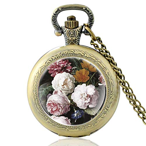 XTQDM Pocket watch,Charm Pretty Flower Design Vintage Quartz Pocket Watch Men Women Pendant Necklace Hours Clock Gifts Bronze
