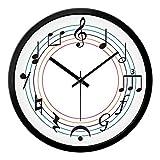 Wanduhr Notenuhren Musik Schule Art Deco Uhren Schwarz Metallrahmen 017 20,3 cm