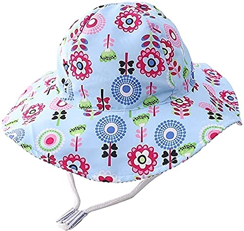 SKYWPOJU Baby toddler child quick-drying sun hat bucket hat SPF 50+ size adjustable chin strap (Color : Blue1, Size : 7-9 years)