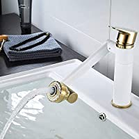 Gang-LL 水栓 実用的なプラチナホワイト塗装蛇口真鍮レトロ洗面流域の蛇口ホットとコールド単穴の上カウンター盆地の蛇口美しいです 台所用品