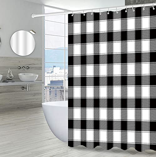 """Black and White Buffalo Check and Plaid Shower Curtain for Bathroom, Fabric Cloth Checkered Shower Curtains(72"""" x 72"""")"""