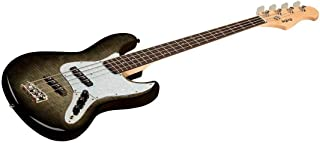 Monoprice Indio Jamm Flamed Maple Electric Bass - Charcoal, with Gig Bag