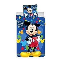 Juego de cama infantil Mickey – Funda nórdica para cama individual de 140 x 200 cm + funda de almohada de 65 x 65 cm