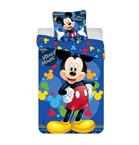 Mickey Kinder Bettwäsche – Bettbezug für Einzelbett 140x200 + Kissenbezug 65x65 cm