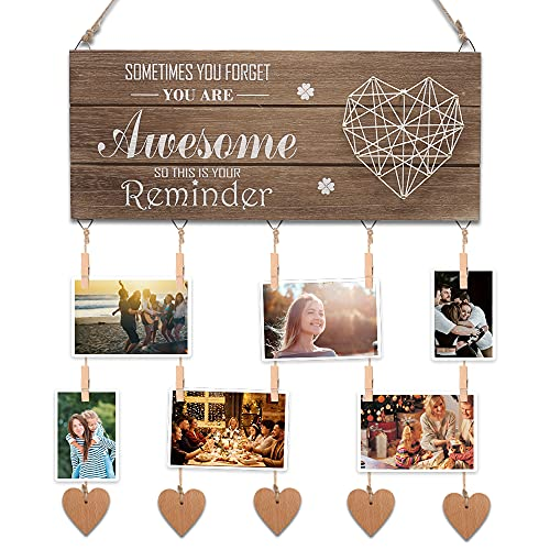 MZY LLC Picture Board with Clips, Wooden Picture Frame with Clips and Twine, Birthday Graduation Inspirational Gifts for Women