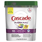 Cascade Platinum Plus Dishwasher Pods, Actionpacs Dishwasher Detergent, Lemon Scent, 70 Count