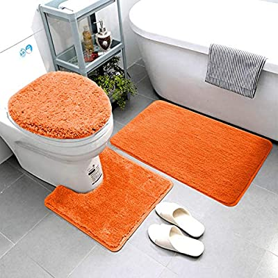 Smart Linen 3 Piece Bathroom Rug Set Includes Bath Rug, Contour Mat and Toilet Lid Cover, Machine Washable, Super Soft Microfiber & Non Slip Bath Rugs with Rubber Backing Solid (Orange)