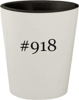#918 - White Outer & Black Inner Hashtag Ceramic 1.5oz Shot Glass